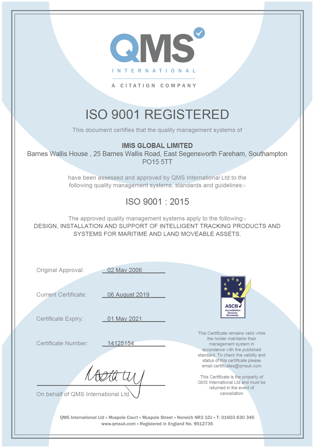 IMIS ISO Certificate