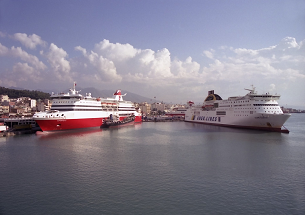 Ferries in port
